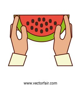 hands holding watermelon