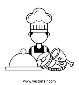 chef cartoon meal meat chicken and fish