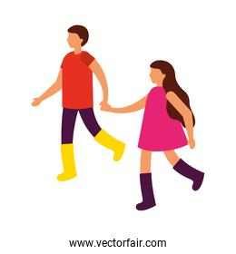 faceless boy and girl holding hands