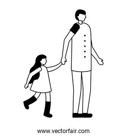 father with daughter holding hands