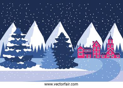 winter landscape village mountains and pine trees