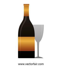 bottle champagne and cup on white background
