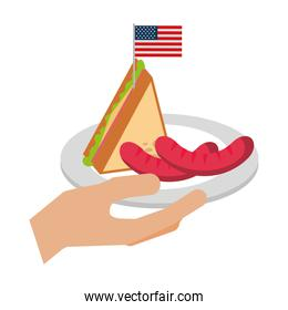 hand holding sausage and sandwich american flag