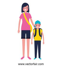 tourist mother and son with suitcase
