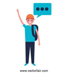 man character and speech bubble