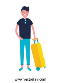tourist man with travel suitcase vacations