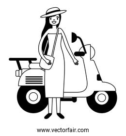 woman with bag standing near motorcycle