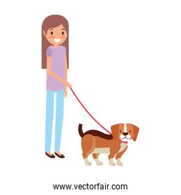 girl with little beagle dog