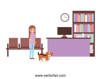 girl with dog consultation veterinary clinic