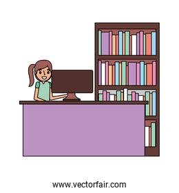 woman with computer and bookshelf