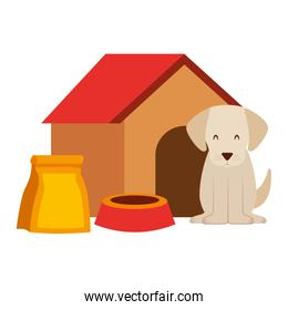 dog wooden house bowl and package