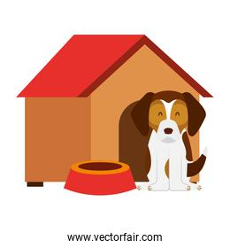 dog wooden house bowl