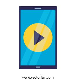 cellphone video player on white background