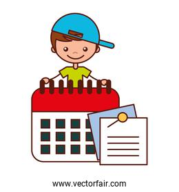 boy with calendar and notes paper