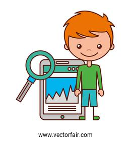 boy and magnifying glass mobile