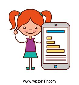 little girl and mobile chart diagram