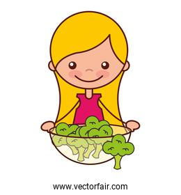 girl with bowl filled broccoli