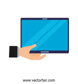 hand with tablet computer device