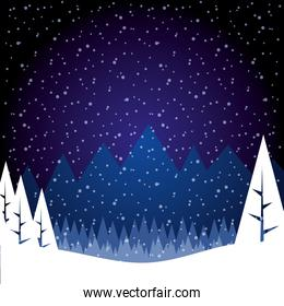 winter ladscape snow tree forest