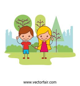 cute boy and girl in the park
