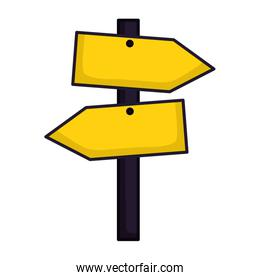 wooden guide signal on white background