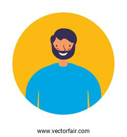 smiling man round portrait character
