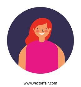 smiling woman round portrait character