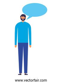 man character with speech bubble