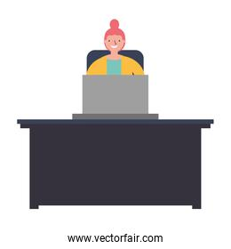 woman with laptop in the workplace