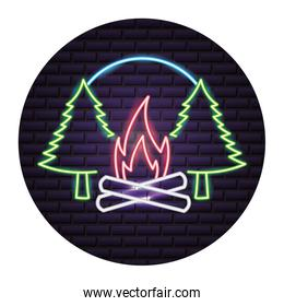 campfire pine trees forest neon