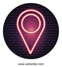 pointer map neon brick wall