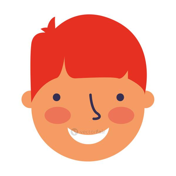 happy young boy face character