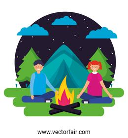 boy and girl tent forest night camping
