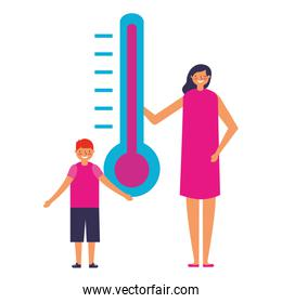 woman with son and thermometer