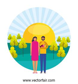 couple and baby girl sunny day trees landscape