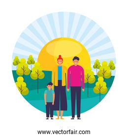 parents and son sunny day trees landscape