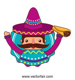 mexican man with hat and food
