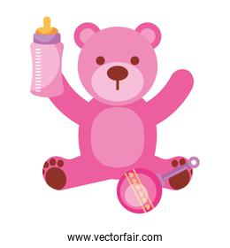 pink bear milk bottle and rattle