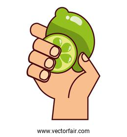 hand with lemon on white background