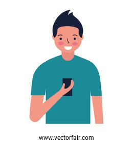man using cellphone device white background