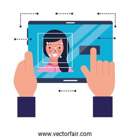 hand with mobile woman face scanning