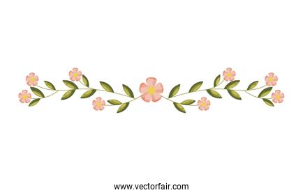 flowers and leaves decoration on white background