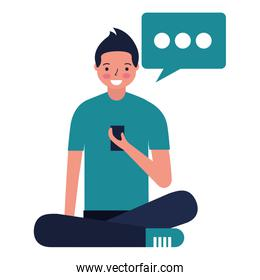 man sitting using mobile text bubble