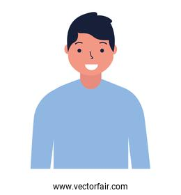 portrait man character on white background