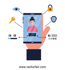 hand with cellphone face scan biometric technology