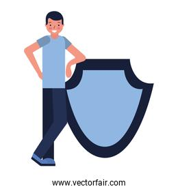 man with shield protection white background