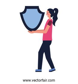 woman with shield protection secure