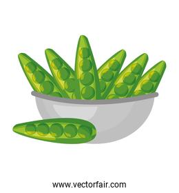 bowl with peas healthy food