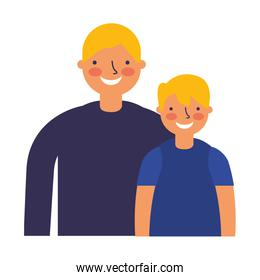 father and son characters on white background