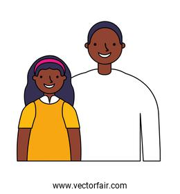 father with daughter on white  background